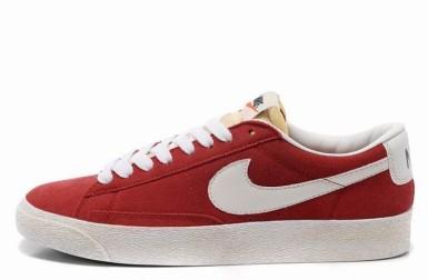 Nike Blazer Basse Homme Premium Vintage Daim Gym Rouge Blanc