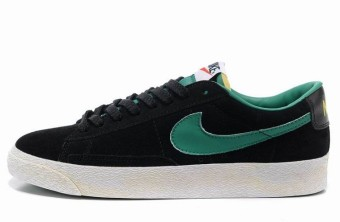 Nike Blazer Basse Homme Premium Vintage Daim Noir Vert