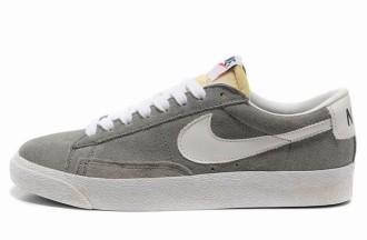Nike Blazer Basse Homme Premium Vintage Daim Loup Gris Blanc