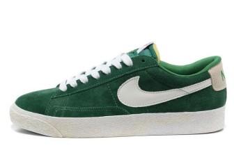 Nike Blazer Basse Homme Premium Vintage Daim Vert Blanc