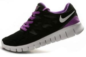 Nike Free Run 2 Femme Noir Pourpre Blanc