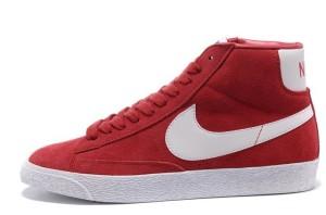 Nike Blazer Hautes Femme Premium Vintage Daim Gym Rouge Blanc