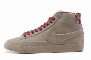 Nike Blazer Hautes Femme Daim VT Loup Gris Bourgogne